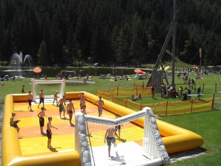 Sliding Soccer on Ramsau Beach - Organic farmhouse Rupbauer